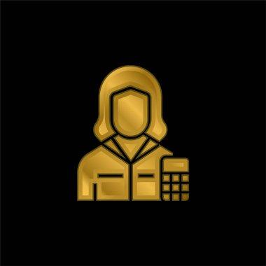 Muhasebeci altın kaplama metalik simge veya logo vektörü