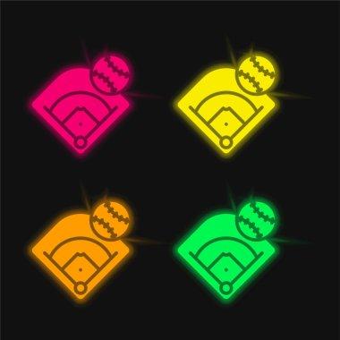 Baseball Field four color glowing neon vector icon stock vector