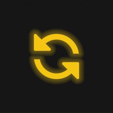 Arrows Couple Counterclockwise Rotating Symbol yellow glowing neon icon stock vector