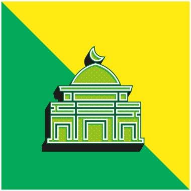 Al Aqsa Mosque Green and yellow modern 3d vector icon logo