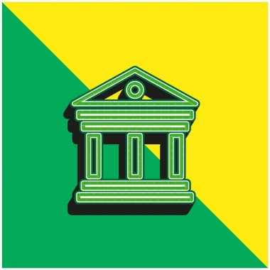 Antique Elegant Building With Columns Green and yellow modern 3d vector icon logo stock vector