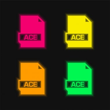 Ace four color glowing neon vector icon stock vector