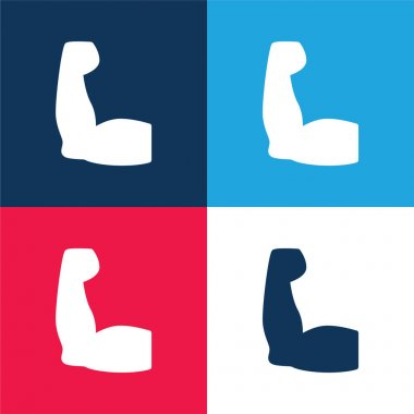 Biceps blue and red four color minimal icon set stock vector