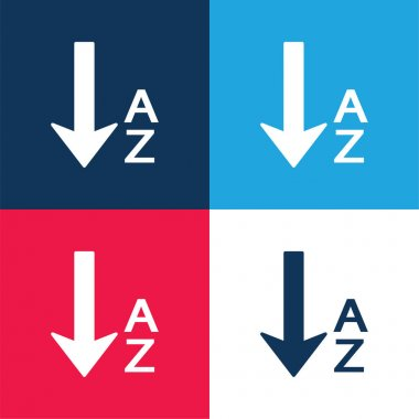 Alphabetical Order blue and red four color minimal icon set