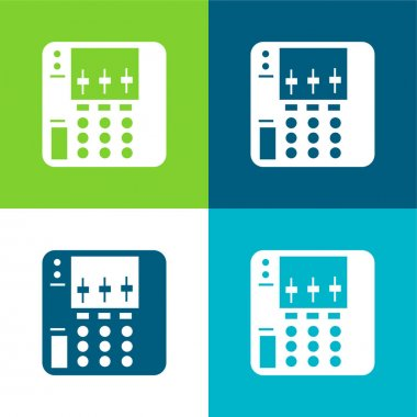 Audio Equalizer Device Flat four color minimal icon set stock vector