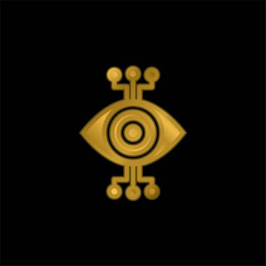 Bionic Eye gold plated metalic icon or logo vector