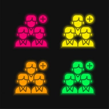Add four color glowing neon vector icon stock vector