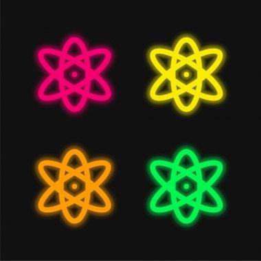 Atom dört renk parlayan neon vektör simgesi
