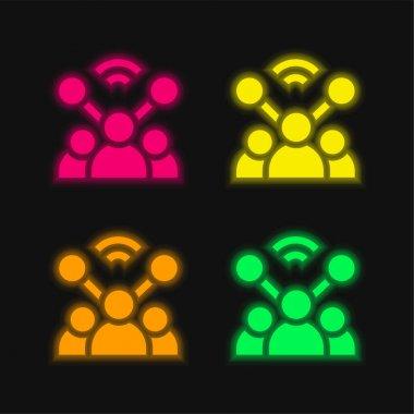 Account four color glowing neon vector icon stock vector