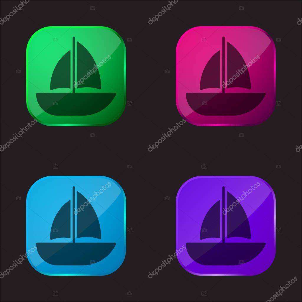 Barca a quattro colori icona pulsante di vetro