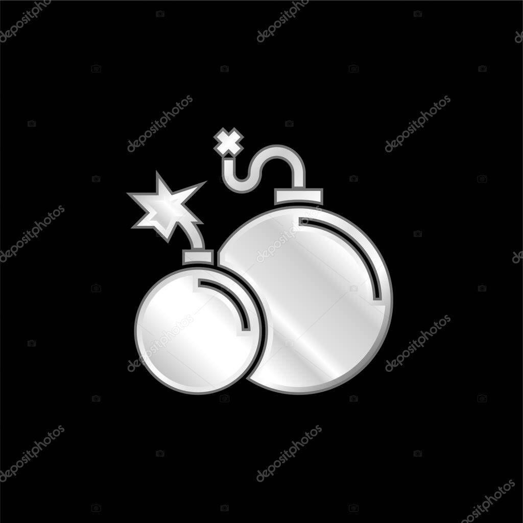 Atomic Bomb silver plated metallic icon stock vector