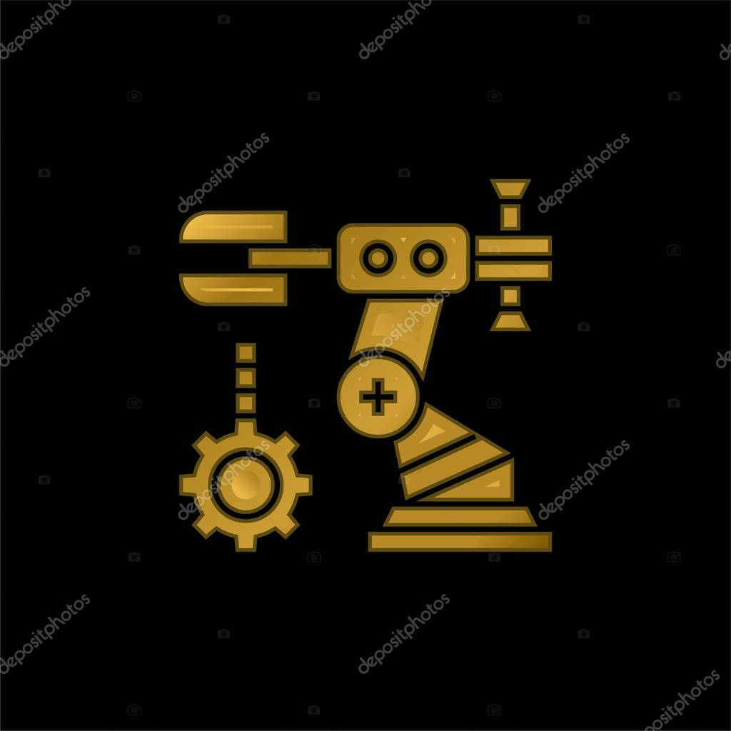 Assembly gold plated metalic icon or logo vector stock vector