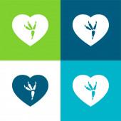 Madár nyomtatás Lapos négy szín minimális ikon készlet