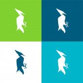 Vogelform Flache Vier-Farben-Minimalsymbolset
