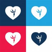 Bird Print blau und rot vier Farben minimales Symbol-Set