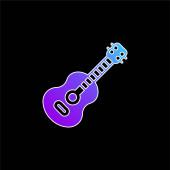 Acoustic Guitar blue gradient vector icon