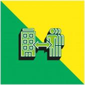B2b Zöld és sárga modern 3D vektor ikon logó