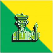 Künstler Grün und gelb modernes 3D-Vektor-Symbol-Logo