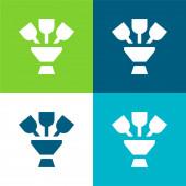 Bouquet Flache vier Farben minimales Symbol-Set