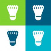 Badmintom péro Flat čtyři barvy minimální ikona nastavena