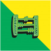 Abacus ručně kreslené vzdělávací hračky Zelená a žlutá moderní 3D vektorové logo ikony