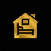 Ubytování pozlacená metalická ikona nebo vektor loga