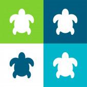 Nagy teknős lapos négy szín minimális ikon készlet