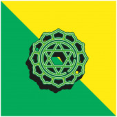 Anahata Zelená a žlutá moderní 3D vektorové logo ikony