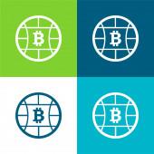Bitcoin Globe Symbol Plocha čtyři barvy minimální ikona nastavena