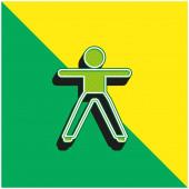 Junge Stretching beide Arme und Beine grün und gelb moderne 3D-Vektor-Symbol-Logo
