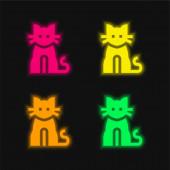 Černá kočka čtyři barvy zářící neonový vektor ikona