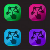 3D modelování čtyři barevné tlačítko ikony