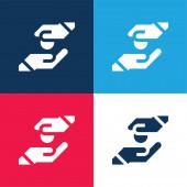 Almosen blau und rot vier Farben minimales Symbol-Set