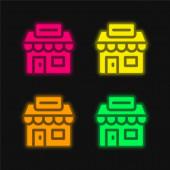 Agentura čtyři barvy zářící neonový vektor ikona