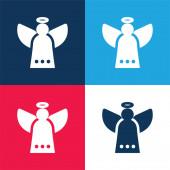 Anděl modrá a červená čtyři barvy minimální ikona nastavena
