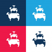 Animals blue and red four color minimal icon set