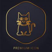 Černá kočka zlatá čára prémie logo nebo ikona