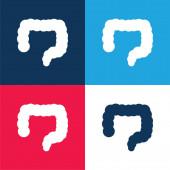 Big Intestines blau und rot vier Farben minimales Symbol-Set