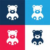 Bär blau und rot vier Farben minimales Symbol-Set