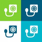 Nástroj pro kontrolu krevního tlaku Flat čtyři barvy minimální ikona nastavena