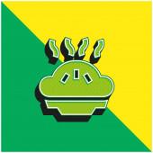 Jablečný koláč Zelené a žluté moderní 3D vektorové logo