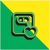 Apple A Měřítko Obrysy Zelené a žluté moderní 3D vektorové logo