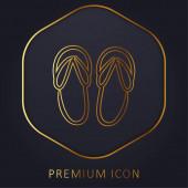 Plážové sandály ručně kreslený obrys zlatá čára prémie logo nebo ikona