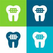 Zahnspange Flache vier Farben Minimalsymbolsatz