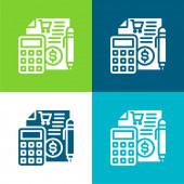 Účetnictví Byt čtyři barvy minimální ikona nastavena