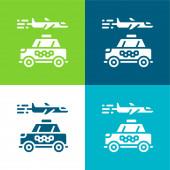 Letiště Byt čtyři barvy minimální ikona nastavena