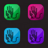 Vérátömlesztés négy színű üveg gomb ikon