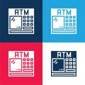 ATM modrá a červená čtyři barvy minimální ikona nastavena