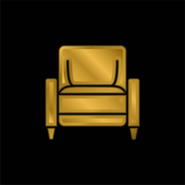 Armchair gold plated metalic icon or logo vector stock vector