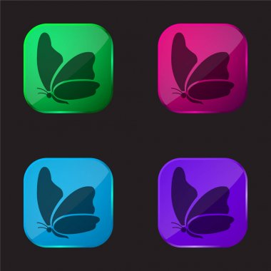 Big Wing Butterfly four color glass button icon stock vector